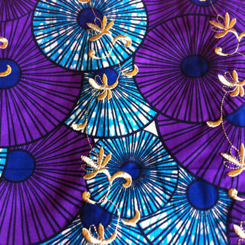 African Wax Print Fabric by the HALF YARD. Blue, Purple, Navy Blue and Gold--Parasols with Gold Embroidery