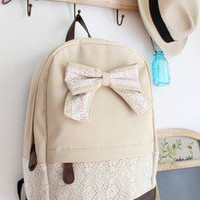 Canvas Lace Backpack With Knot