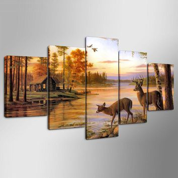 Deer by the River Wildlife Canvas