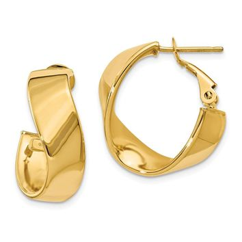 14k Gold 15 mm Twisted Oval Hoop Earrings