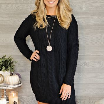 * Dee Cable Knit Sweater Dress : Black