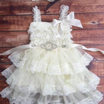 Rustic girl dress, ivory country dress,vintage, lace chiffon dress, flower girl, baby dress, flower girl dress, lace dress, rhinestone lace