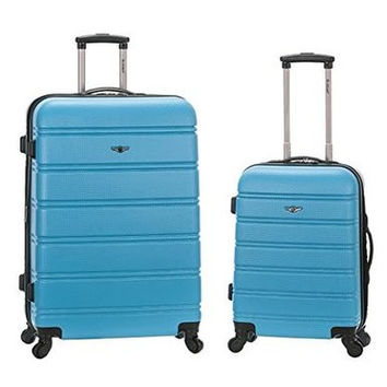 "F225-TURQUOISE 20"", 28"" 2Pc Expandable Abs Spinner Luggage Set"