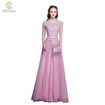 SSYFashion New Arrival Pink Lace Beading Long Evening Dress The Bride Banquet Elegant Party Gown Formal Dresses Robe De Soiree