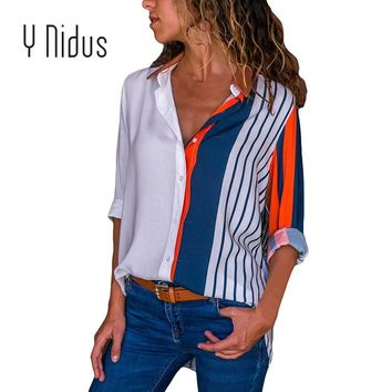 Women's Shirt Chiffon Blouse Casual Floral Cuffed Long Sleeve V Neck Button up Color Block Striped Tops blusas feminina