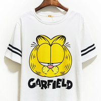 "White ""Garfield"" Print Striped Short Sleeve Shirt"