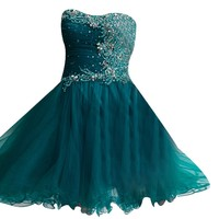 VILAVI Womens A-line Strapless Tulle Crystal Beading Sequin Homecoming Dresses