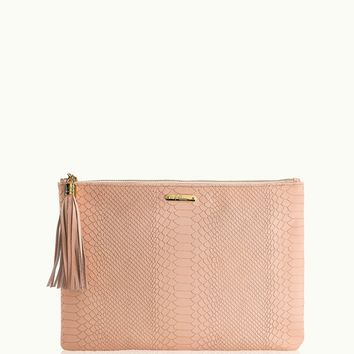 GiGi New York Uber Clutch Desert Rose Embossed Python Leather