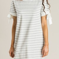 Izzy Grey Stripe Shift Dress