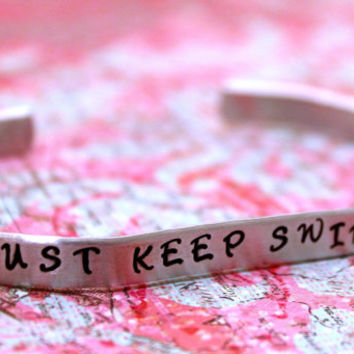 Just Keep Swimming - Stamped Cuff Bracelet