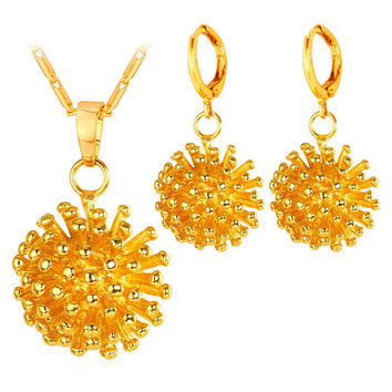 Golden Hedgehog Shape Necklace and Earrings