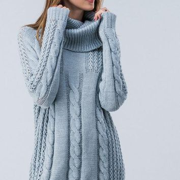 Cable Knit Cowl Neck Sweater - Blue/Gray