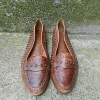 Vintage 80s tan leather braided loafers 6 1/2