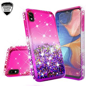Motorola Moto E6 Case Liquid Glitter Phone Case Waterfall Floating Quicksand Bling Sparkle Cute Protective Girls Women Cover for Motorola Moto E6 W/Temper Glass - (Hot Pink/Purple Gradient)
