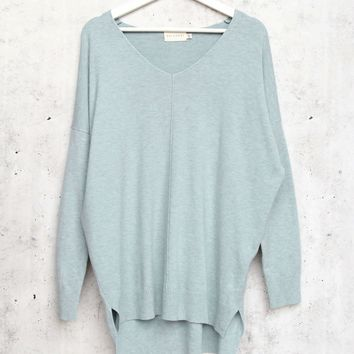 dreamers by debut - Super Soft And Cozy sweater with front seam detail - Heather Mint