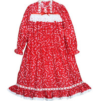 Girls Christmas nightgown , victorian nightgown - red flannel , white cotton candy canes Christmas photo toddler kids holiday size 2 3 4 5 6