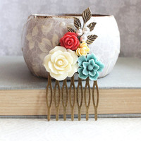 Colorful Bridal Hair Comb Teal Blue and Red Modern Wedding Ivory Cream Pearls Floral Hair Accessories Bridesmaid Gifts Rustic Branch Comb