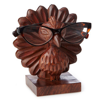 Perry the Carved Peacock Eyeglasses Holder | eyeglass holder, handmade décor