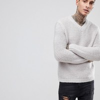 ASOS Heavyweight Knitted V Neck Jumper In Grey at asos.com