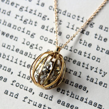 Pyrite Pet Rock Necklace for Creativity and by FieldGuideDesign