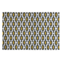 Raven Jumpo Grey Gold Geometry Woven Rug