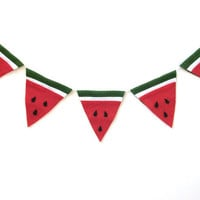 Large felt watermelon banner, watermelon bunting banner