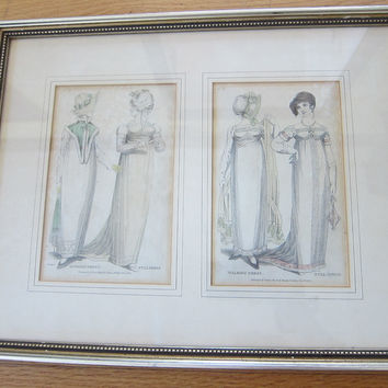 19th C Antique Prints of 1800 Fashion  by Vernor Hood & Sharp Poultry, Full Dress