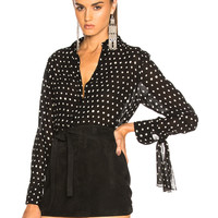 Saint Laurent Classic Crepe Viscose Polka Dot Shirt in Black & White | FWRD