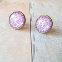 P U R P L E - Bright Purple Glitter Sparkle Photo Glass Cab Circle Bronze Post Stud Earrings