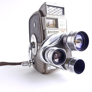 Vintage Keystone Electric Eye Movie Camera - 1950 KA-1 8mm Electronic  / Mid Century Cinema