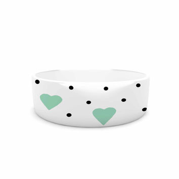 "Project M ""Pin Point Polka Dot Mint"" Green White Pet Bowl"