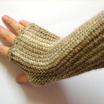 Long fingerless gloves, cappuccino shades, texting gloves, crochet gloves, seamless handknit soft armwarmers, driving gloves