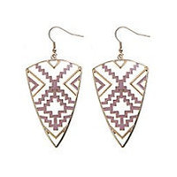 A pair of pink and 14 carat yellow gold aztec earrings