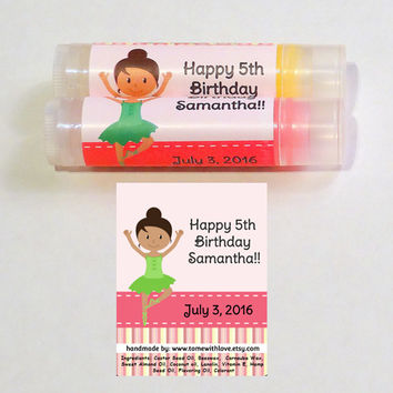 10 Ballet lip balm Party Favor -personalized party favor, ballet slipper, ballet shoe, ballet flats, birthday party favor, ballet tutu, A77