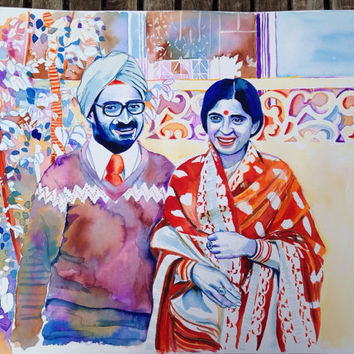 50th WEDDING ANNIVERSARY gift - Watercolor portrait - Indian India hindu punjabi painting