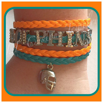 4 strand Infinity/Love, DOLPHINS Football Rhinestone letters with Charm Multistrand Bracelet - or Customize with other words, colors, etc.