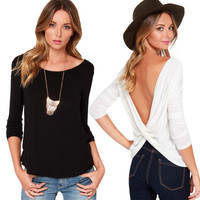 SIMPLE - Woman Fashionable Loose Backless Long Sleeve Top a10580