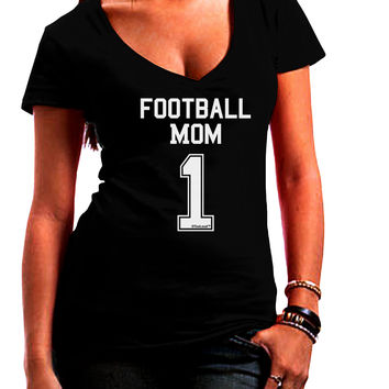 Football Mom Jersey Juniors V-Neck Dark T-Shirt