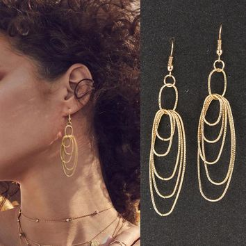 Hammered Twisted Circles Entwined Dangle Earrings Delicate Women Gold Filled Geometric Punk Ethic Bridal Jewelry Gifts for Her