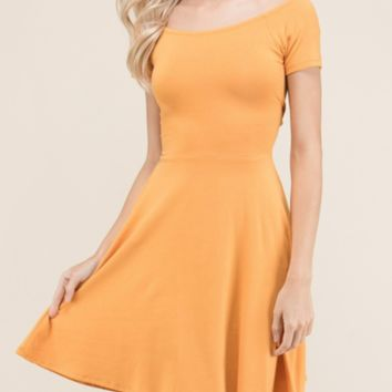 Women's Newest Summer Collection - Jessica - Gold Short Sleeve Skater Tunic Dress
