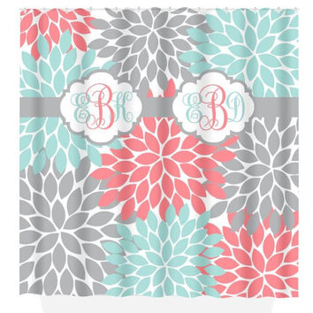 Coral Aqua Gray SHOWER CURTAIN, Flower Burst Petals, Custom MONOGRAM Personalized, Bathroom Decor, Beach Towel, Plush Bath Mat