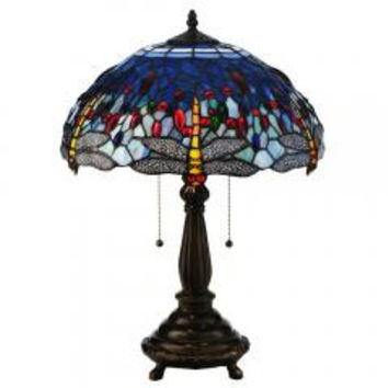 "Meyda Home Indoor Decorative Lighting Accessories 22""H Tiffany Hanginghead Dragonfly Table Lamp"