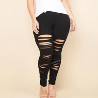 Plus Size Ripped Leggings