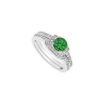 Emerald and Diamond Engagement Ring with Wedding Band Set : 14K White Gold - 0.60 CT TGW