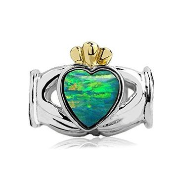 Jovana Sterling Silveryellow Gold Claddagh Bead Charm with Lab Green Opal Fits European charm Bracelet