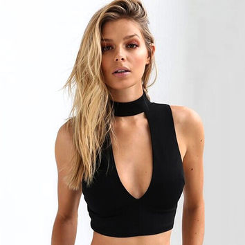 New Sexy Women V Neck Tank Tops Bustier Bra Vest Crop Top Halter Neck Sleeveless Blouse For Girls Gift