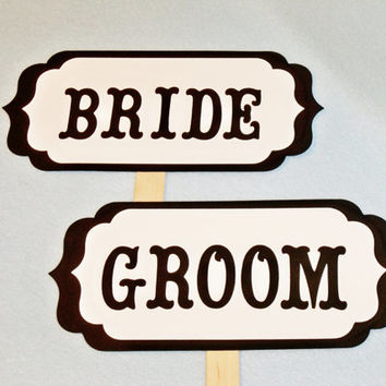 Wedding Signs Bride and Groom Photo Props Centerpiece Black White