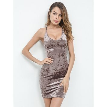 Lace Up Open Back Crushed Velvet Bodycon Dress