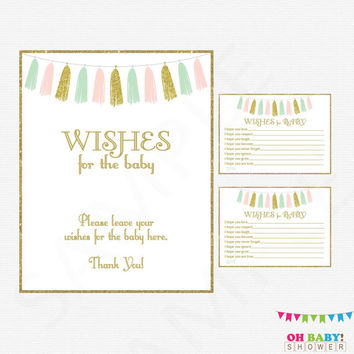 Wishes for Baby, Pink Mint Gold Baby Shower, Girl Baby Shower, Wishes for Baby Sign, Advice for Baby Cards, Well Wishes, Download, TASPMG