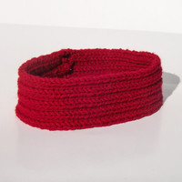 Thin Knit Winter Headband - Red/Pink